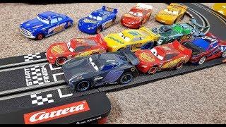 Disney Cars 3 Toys Carrera Go Fast Not Last Lightning Mcqueen Vs Jackson Storm Vs Cruz Ramirez
