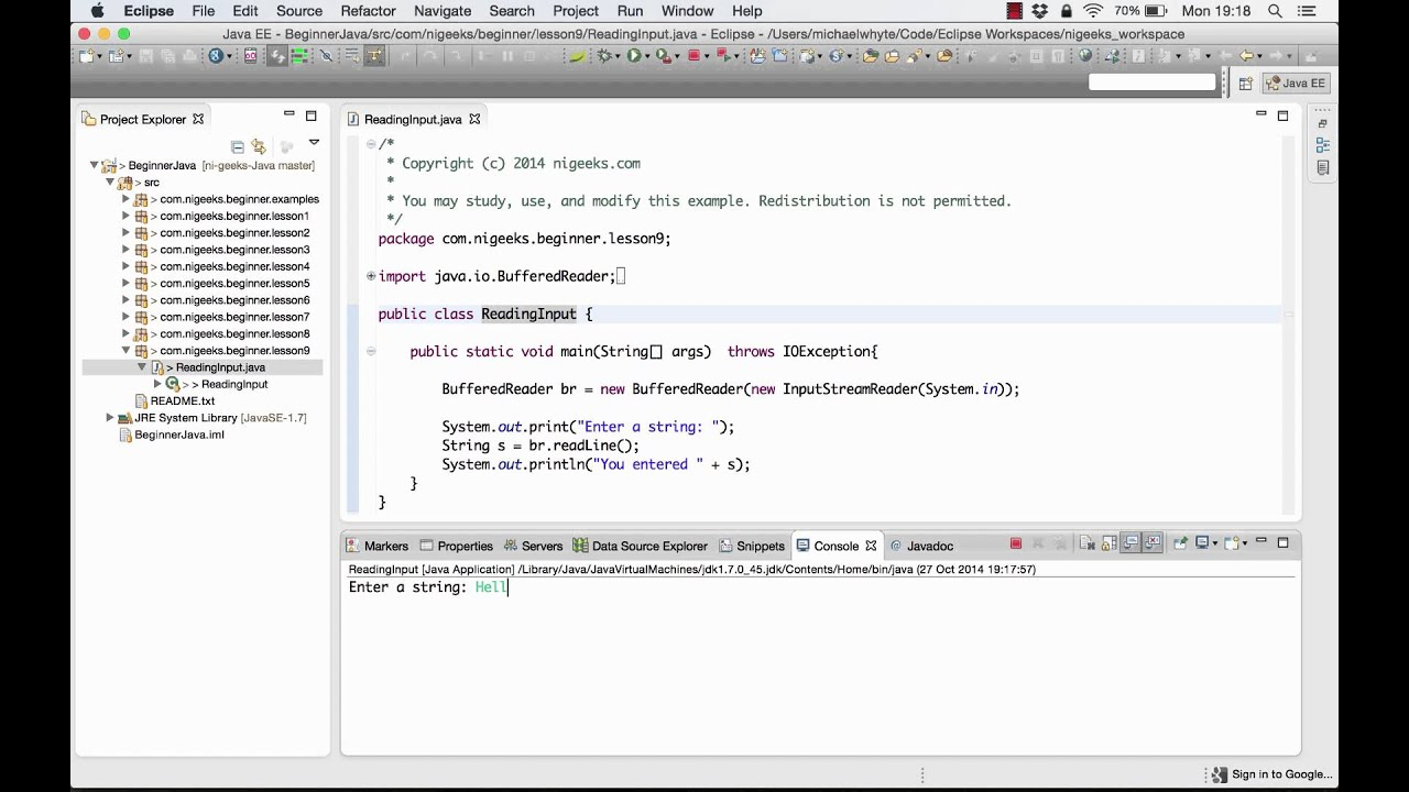 Lesson 9 - Reading console input and import statements - codenerve com