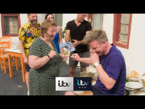 Gordon is left Flustered After A Greek Grandma Criticises His Food | Gordon, Gino & Fred Go Greek