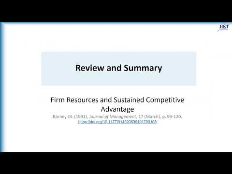 """Barney (1991), Review & Summary """"Firm Resources and Sustained Competitive Advantage"""""""