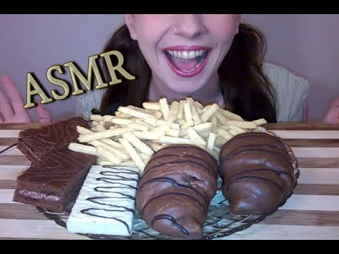 ASMR Dessert: Crunchy Cheese Snack, Chocolate Croissants & Cakes, White Chocolate Waffle(NO TALKING)