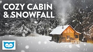 Cozy Cabin Fireplace Sounds and Falling Snow