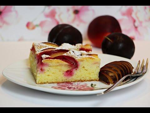 Brzi kolač na čaše sa mekanim biskvitom i voćem - Light and fluffy sponge cake with fruits/plums