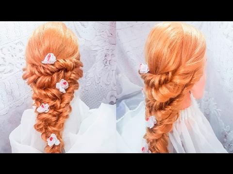 Свадебная, вечерняя прическа на полураспущенные волосы с жгутами назад. Видео-уроки прически braid
