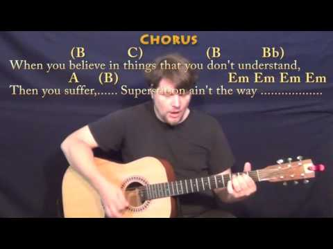 Superstitious (Stevie Wonder) Guitar Cover Lesson in Em with Chords/Lyrics