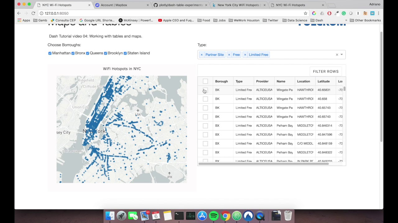 Plotly Dash Tutorial - Working with table and map (Video 04)