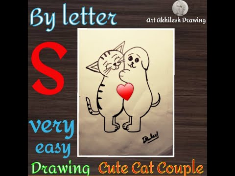 """How to easily draw """"Cute Cat Couple"""" by Letters """"S"""" 