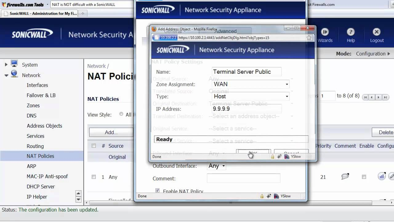 SonicWALL NAT Policy Settings Explained