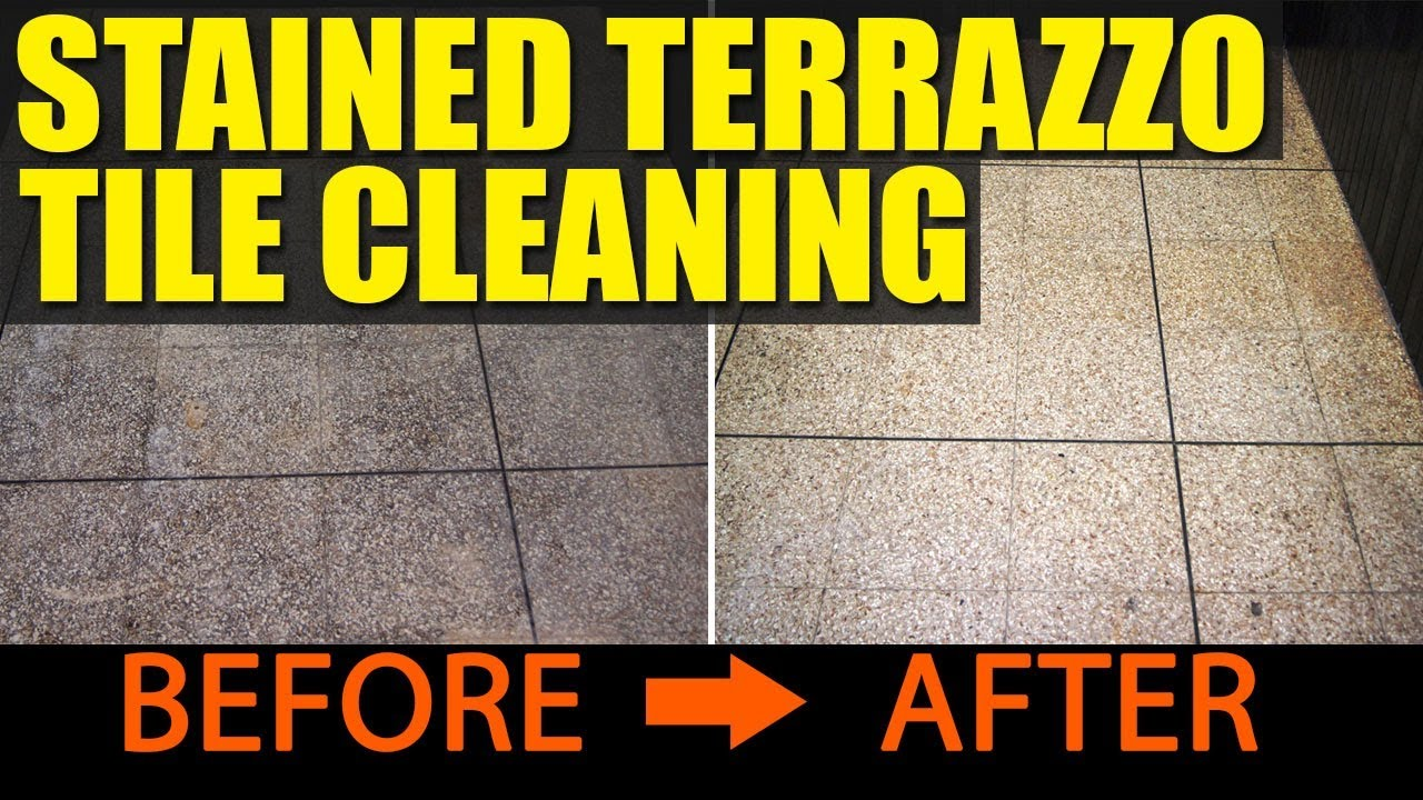Stained Terrazzo Tiles Cleaned At A Wigan Fish And Chip Shop
