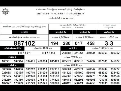ตรวจหวย 1/10/59 ตรวจสลากกินแบ่งรัฐบาล ตรวจลอตเตอรี่ ตรวจผลสลากกินแบ่งรัฐบาล Thai lottery Result หวย