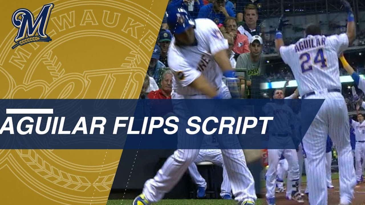 Aguilar flips script, carries Brewers to walk-off win