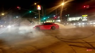 2017 Porsche 911 burnout - Camaro catches fire- Crenshaw Takeover -Sunday funday-Burnout Compilation