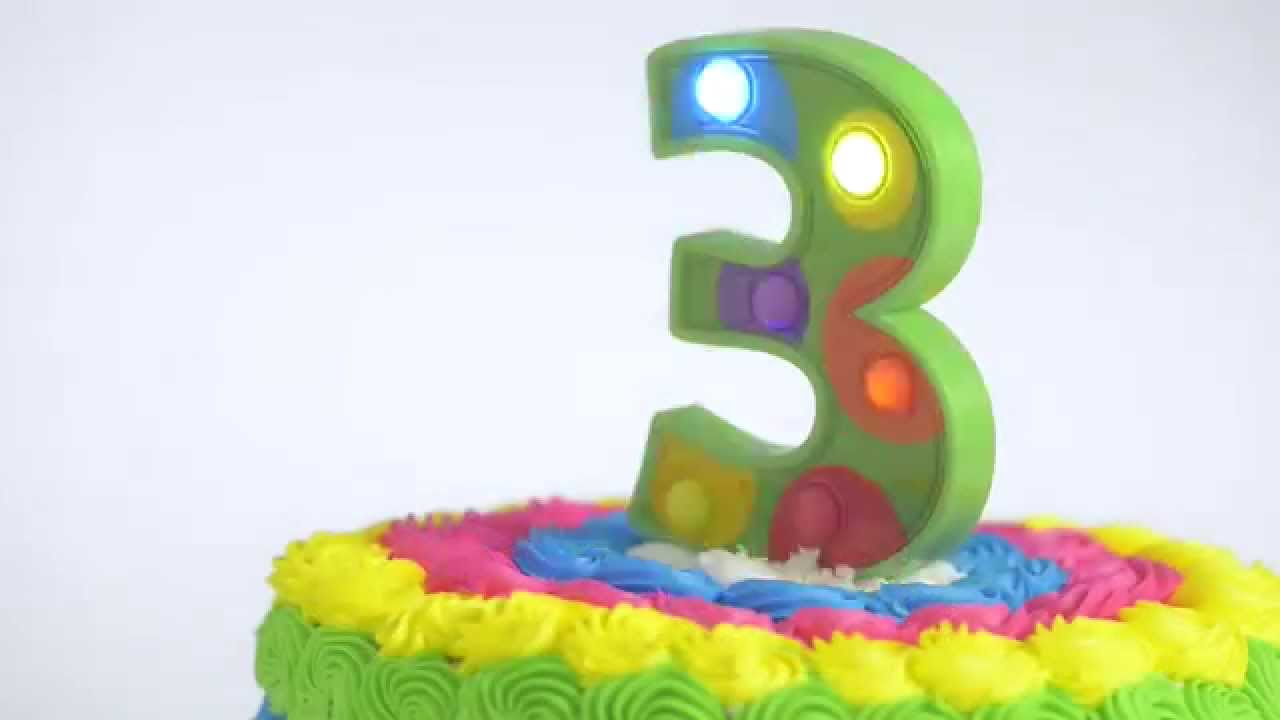 Flashing Number 3 Cake Decoration