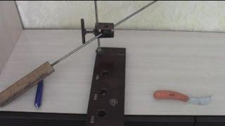 Самодельное устройство для заточки ножей(Угол заточки выставляется самостоятельно, Невероятная точилка для ножей, , точило для ножей по типу апекс..., 2013-07-19T18:58:17.000Z)