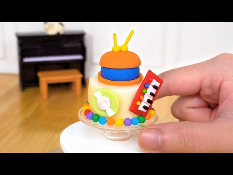 Fancy Miniature MUSIC CAKE Decorating   Awesome Miniature Cake Design by Tiny Cakes
