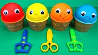 4 Colors Play Doh Ice Cream Cups PJ Masks Chupa Chups Kinder Surprise Eggs