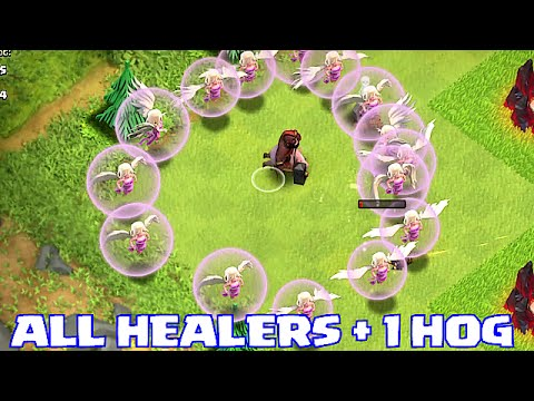 Clash Of Clans - 1 HOG + ALL HEALERS!!! (INSANE GAMEPLAY)