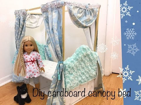 Diy cardboard canopy bed for 18 inches dolls part 2 # American girl doll # Curtains