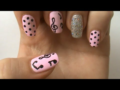 music notes nail art