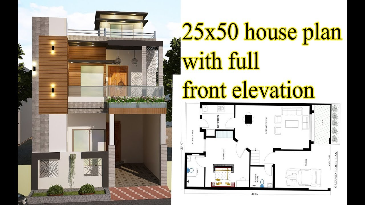 25x50 Plan With Front Elevation