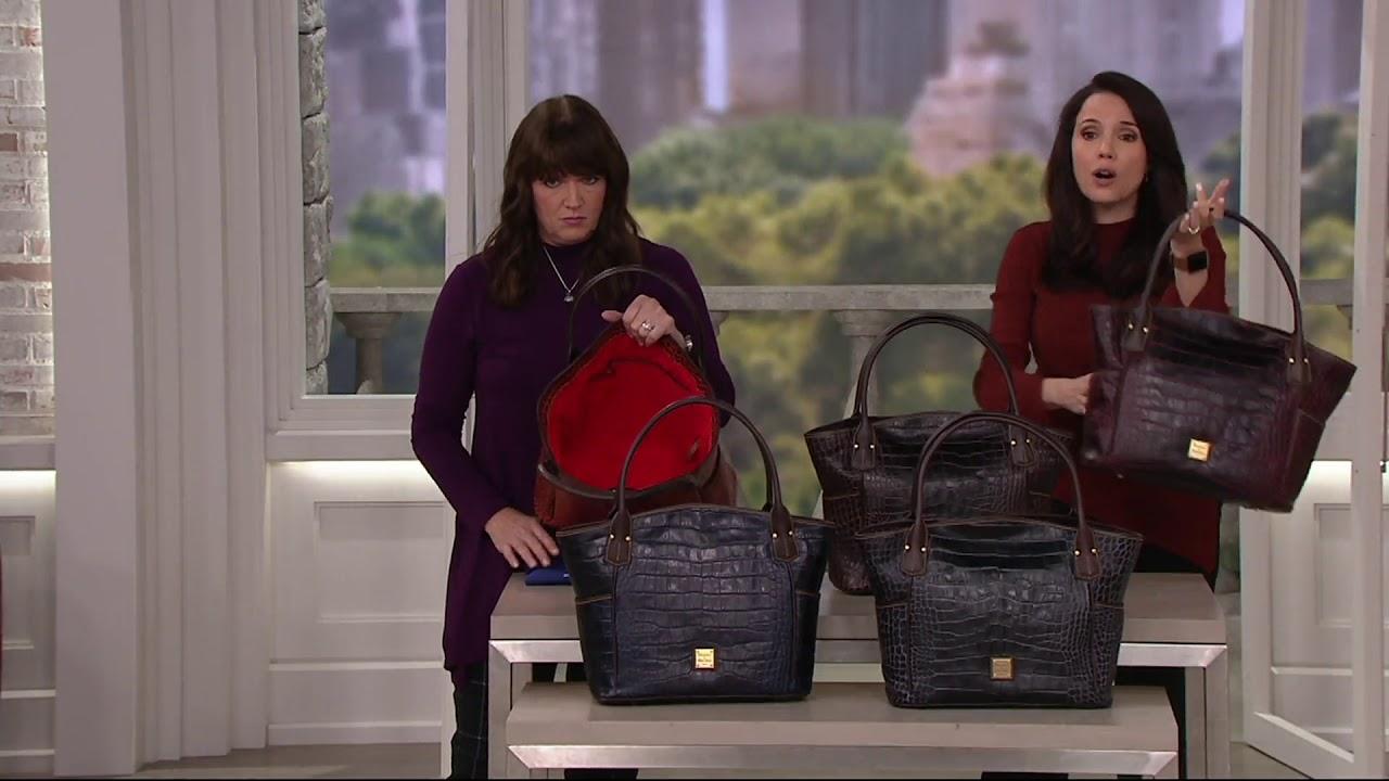 Samantha Brown Luggage Qvc: Dooney & Bourke Croco Kristen_Tote Handbag On QVC