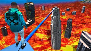 Can You Survive The LAVA TIGHTROPE In GTA 5..? (Mods)