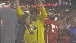 Sweden Captain Throws Medal Updated With Fan    2018 World Junior Championship Moments   Clip 10