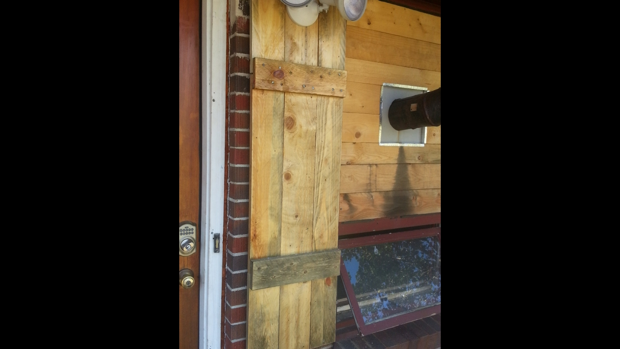 Diy simple pallet window shutters youtube for How to make shutters from pallets