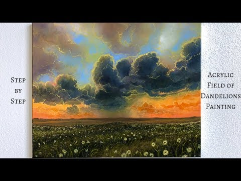 Dandelions Field STEP by STEP Acrylic Painting (ColorByFeliks)