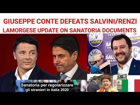 Italy Sanatoria Documents Update; Giuseppe Conte Defeats Matteo Salvini & Matteo Renzi In Parliament