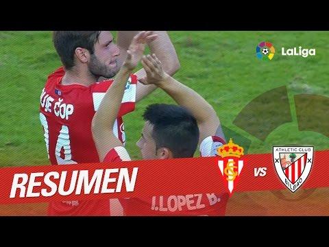 Resumen de Sporting de Gijón vs Athletic Club (2-1)