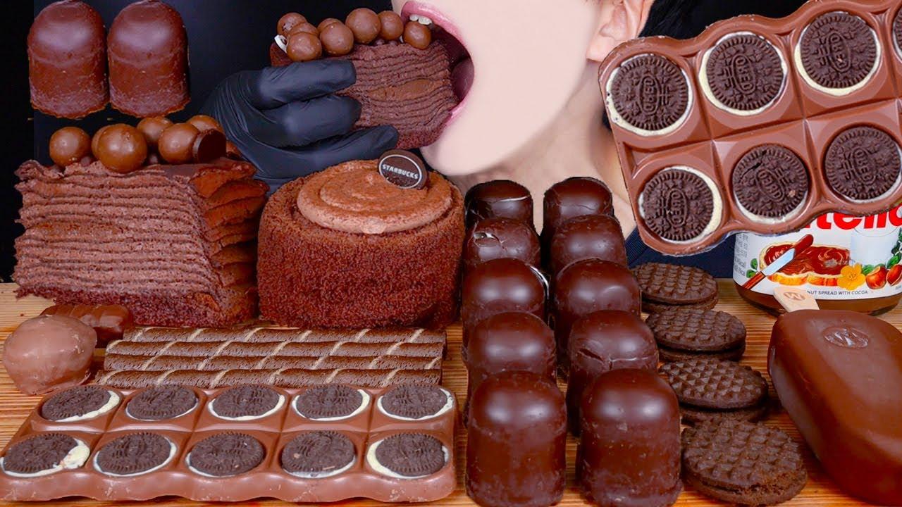 ASMR MALTESERS MAGNUM CHOCOLATE ICE CREAM CHOCOLATE CREPE CAKE OREO DESSERT MUKBANG 먹방 EATING SOUNDS