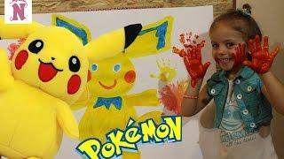 Покемон Пикачу Картина красками Играем вместе ПАЛЬЧИКОВЫЕ КРАСКИ Pokemon GO