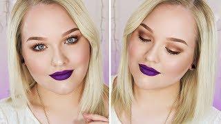 soft copper sparkles  purple lips  makeup tutorial