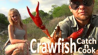 Crawfish Catch N Cook Survival -Hand Caught / Fire Grilled- Crawdads