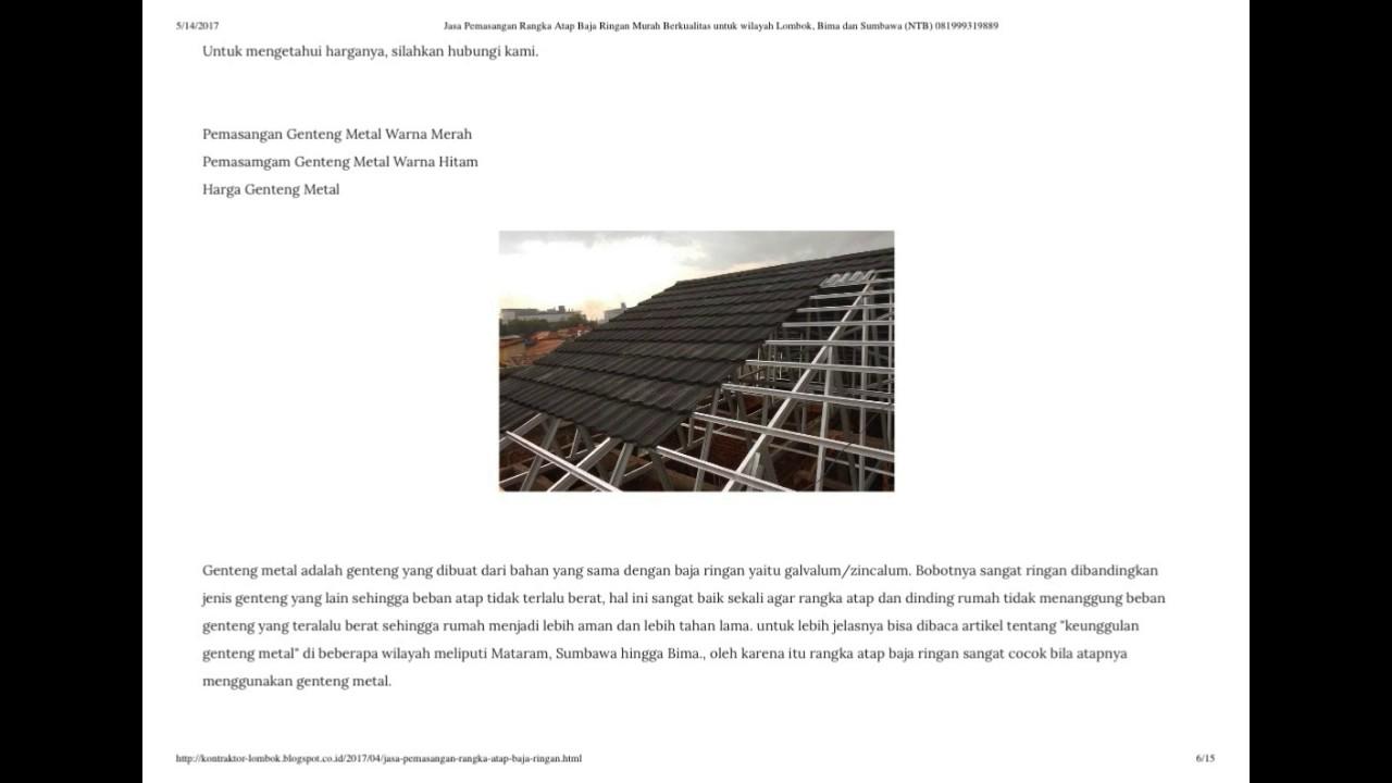 Tukang Baja Ringan Lombok Jasa Pemasangan Rangka Atap Murah Berkualitas Untuk