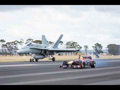 F1 Car vs F/A-18 Hornet (Red Bull's Daniel Ricciardo Feels The Force)