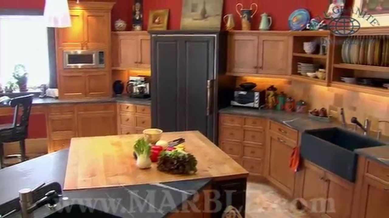 Absolute Black Honed Granite And Pietra Cardoso Slate Kitchen