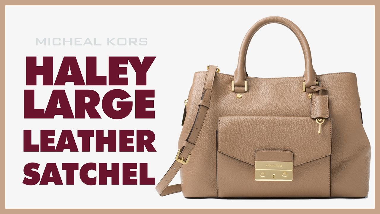 ba3d13b10976 Michael Kors Haley Large Leather Satchel - YouTube