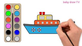 Boat drawing for kids | easy drawings for kids | funny drawings