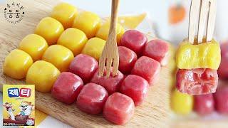 제티로 만든 쫀득쫀득 딸기 바나나 연유초콜릿 (재료 3…