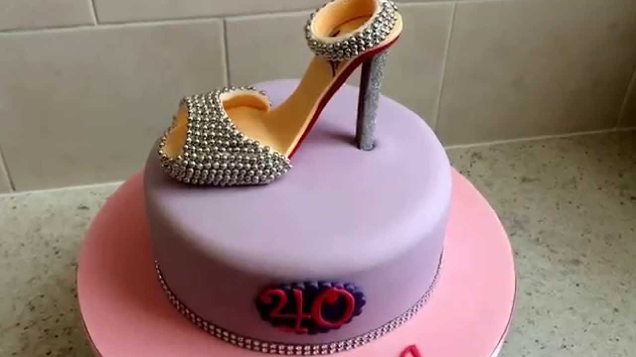 Christian Louboutin shoe 40th birthday cake by Ice Queen Cakes www