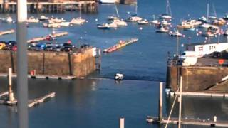 Boat getting stuck in guernsey harbour