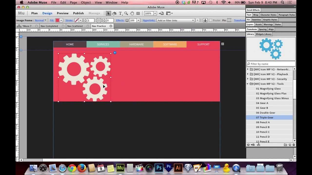 Adobe muse cc 70 tutorial beautiful graphic navigation youtube baditri Choice Image