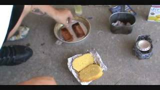 Survival Cooking(spam And Corn Bread Sandwich)