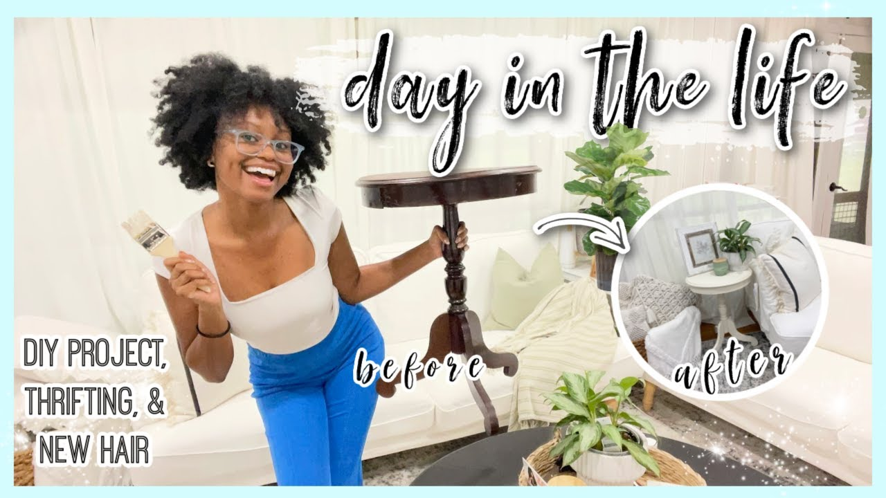 DAY IN MY LIFE| DIY Project, Sunroom Decor, Thrifting, Taking Out My Braids, Redecorating! #VLOG