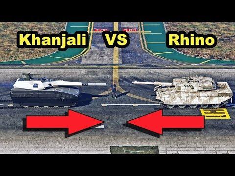 GTA Online Doomsday Heist Vehicles - Rhino Tank Vs TM-02 Khanjali (Doomsday Heist)