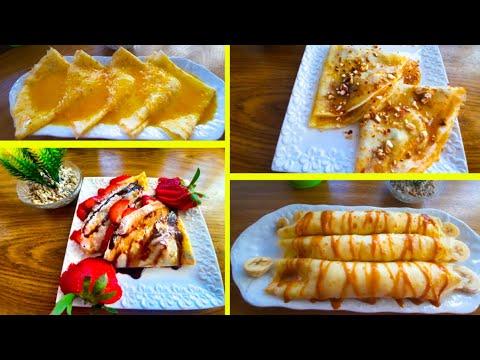 recette-de-crêpes-sucrées-(4-types)-كيفية-تحضيرالكريب-الحلو-أحسن-من-المطاعم-بعجين-سهل-وناجح-ب4حشوات