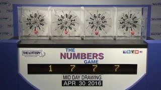 Midday Numbers Game Drawing: Saturday, April 30, 2016