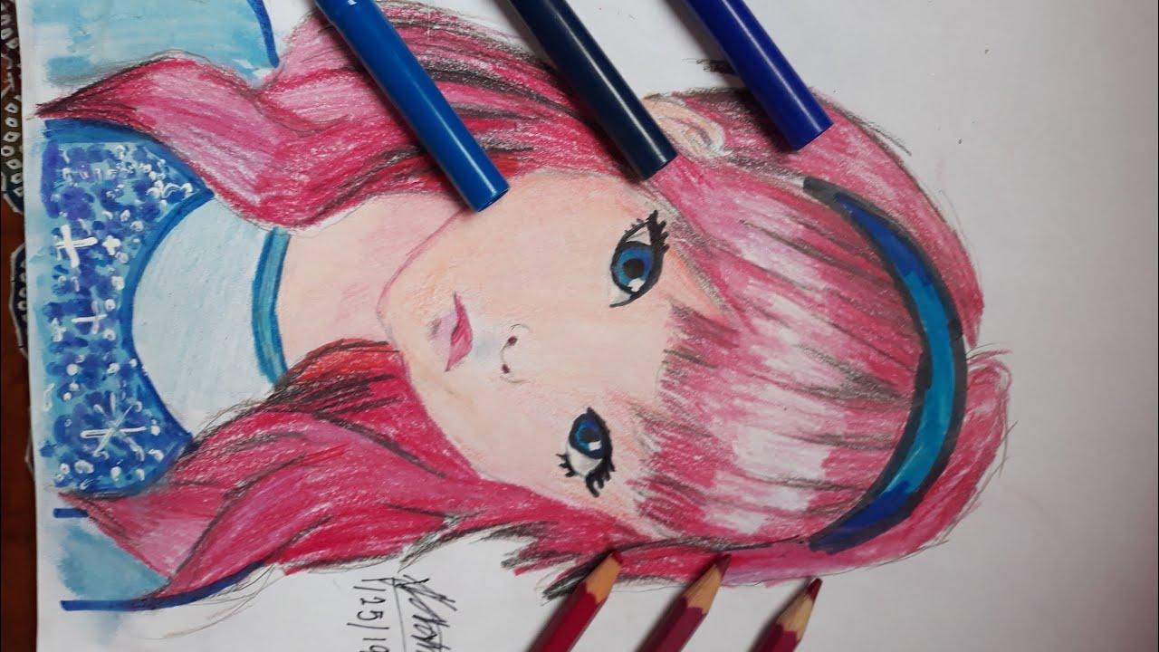 Cute anime girl drawingtime lapse colored pencil
